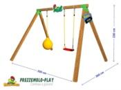 Altalena in legno Prezzemolo BALL con misure