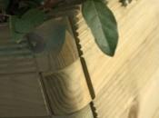 Dettaglio fioriera in legno Domino 120x40