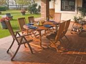 Tavolo ovale pieghevole in legno di balau