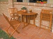 Tavolo rotondo pieghevole in legno di Balau