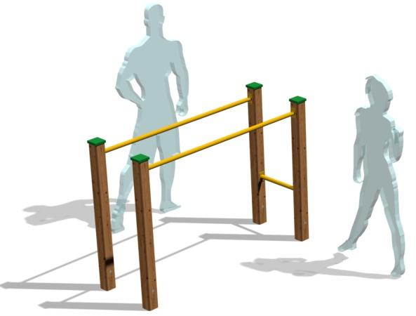 sbarre in legno ed acciaio per callistenica ed outdoor