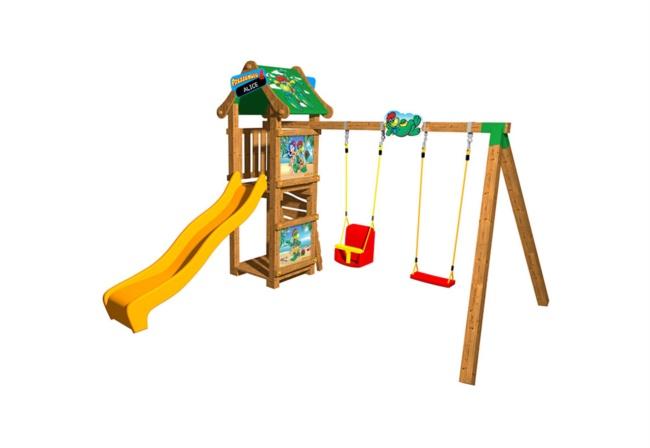Scivolo legno con arrampicata